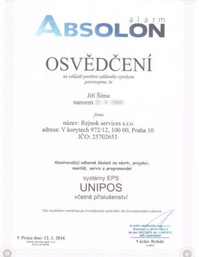 Osvědčení ALARM ABSOLON - systémy EPS