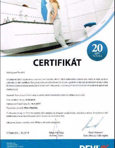 Certifikát DEVI - vytápění