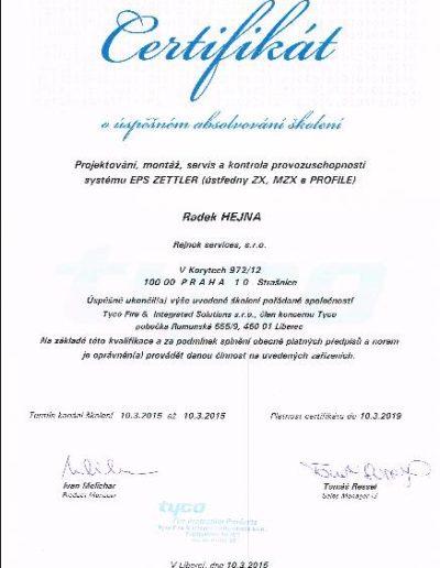 Certifikát - Školení EPS ZETTLER