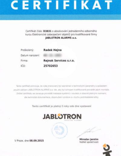 Certifikát Jablotron - EZO